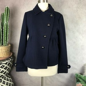LeifNotes Anthropologie Blue Swing Coat Peacoat